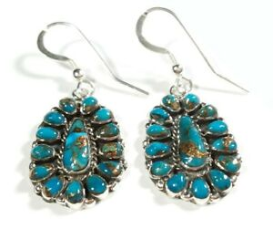 925-STERLING-CLUSTER-MATRIX-BLUE-TURQUOISE-1-9-16-034-x-11-16-034-HOOK-EARRINGS
