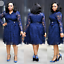 thumbnail 13 - Women Evening Cocktail Dress Plus Size Lace Skirt Casual Dresses Bow Long Sleeve