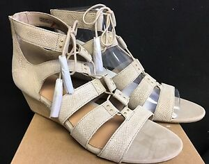 1490e8e7630 Details about UGG Yasmin Snake Caged Lace Up Wedge 1015067 Horchata Women's  Shoes Sandals