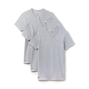 d754120e3203 Lacoste Col V T-Shirts Pack de 3 Gris Neuf avec Étiquette