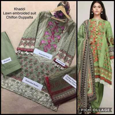 Pakistani Designer Lawn Shalwar Kameez Fully Stitched 3PC Suit Blue EID Summer