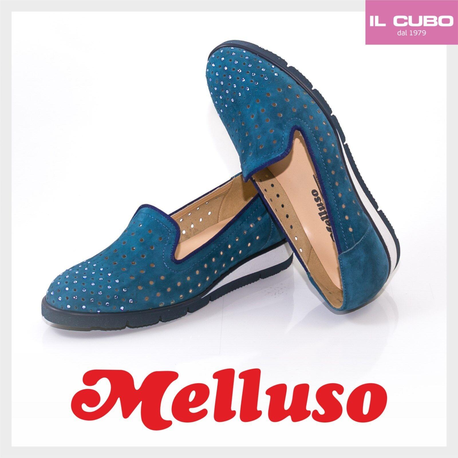 MELLUSO MOCASSINO mujer CAMOSCIO ColorE azul ZEPPA H 2 CM CM CM MADE IN ITALY 70596e
