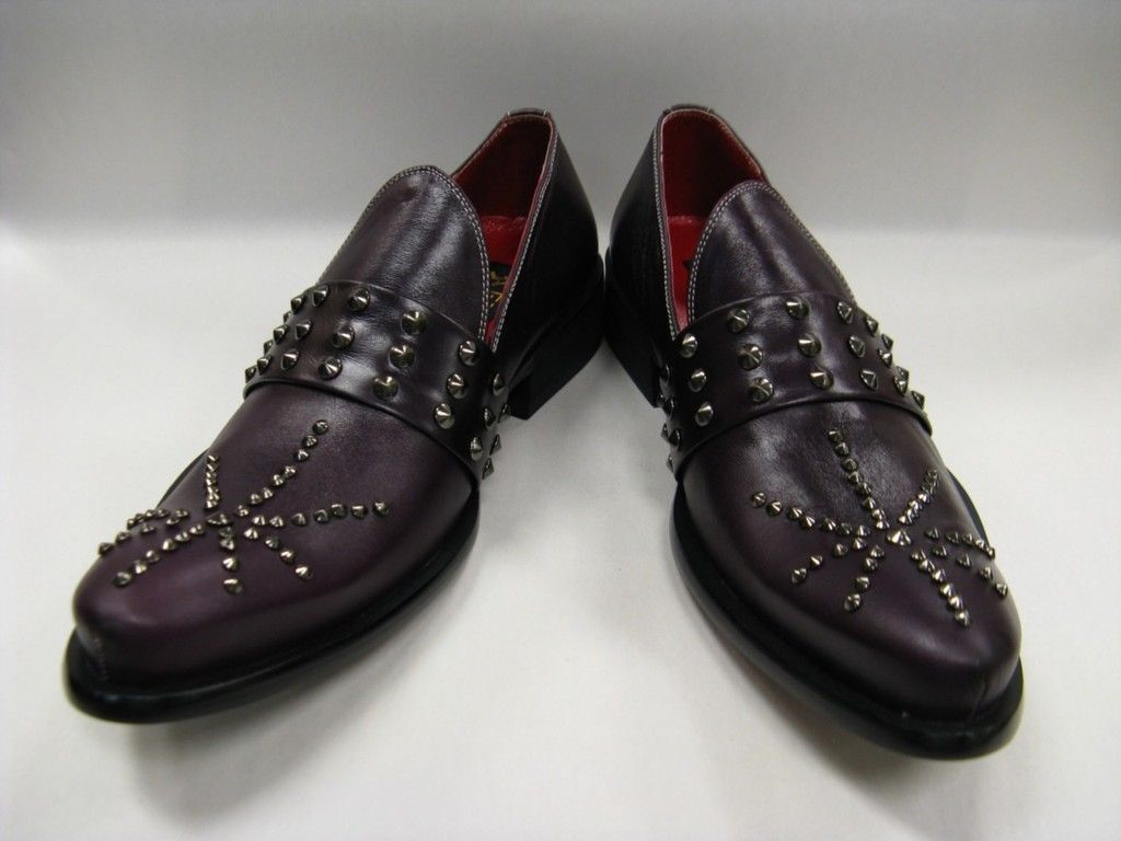 Hot  Fiesso New Purple Leather shoes with Studs FI 8617