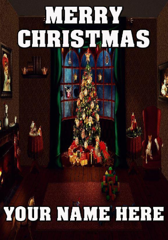 Árbol de Navidad Regalos A5 Tarjeta de felicitación de Navidad Personalizada Cualquier Nombre AN58