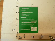 STICKER,DECAL PHILIPS BRANDWEER HALONBLUSSER 324 B41 BZ BEDIENING NA GE