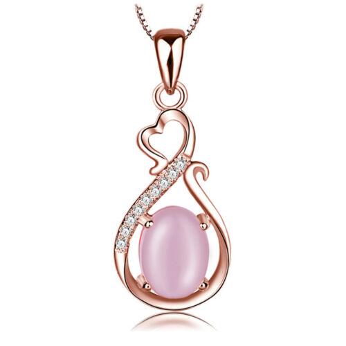 Vente Fille Rose Opale Cristal Collier Pendentif Chic Plaqué Or Rose Chaîne