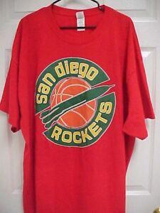 SAN-DIEGO-ROCKETS-Vintage-NBA-1970-039-s-Basketball-Men-Red-T-Shirt-3XL-Gildan-New
