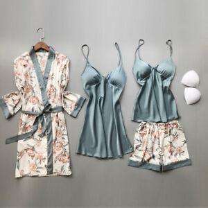 Women/'s Silk Satin Lace Lingerie Set Ladies Pajamas Sleepwear Babydoll Nightwear
