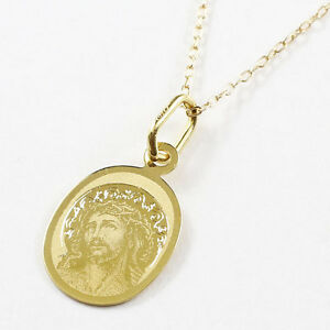 18k solid yellow gold laser engraved christ pendant 10k chain 1775 image is loading 18k solid yellow gold laser engraved christ pendant aloadofball Image collections