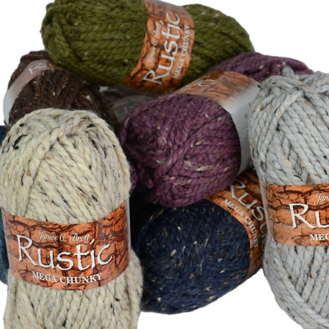 James C Brett Rustic Mega Chunky Wool / Acrylic Knitting Yarn - NEW SHADES