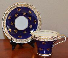 Stunning Cobalt Blue Aynsley Tea Cup with Gold Trim, Corset Shape, Bone China