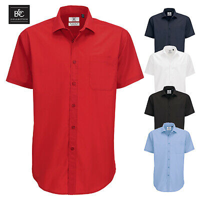 Hilfreich B&c Men's Smart Short Sleeve Shirt Pocket Easy Care Formal Work Business S-4xl GläNzend