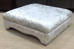 Details About New Large Footstool Coffee Table Silver Crushed Velvet