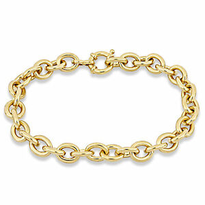 Amour Oval Link Bracelet Silver Yellow Length (inches): 8