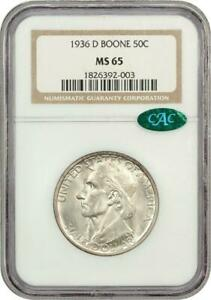 1936-D-Boone-Commemorative-Silver-Half-Dollar-NGC-MS-65-Mint-State-65-CAC