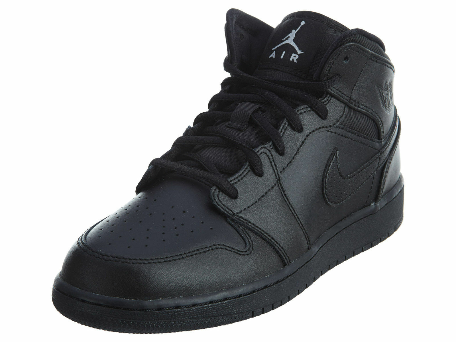 Nike Air Jordan 1 Mid Youth Black Shoes  [554725-021/Youth Size 7]