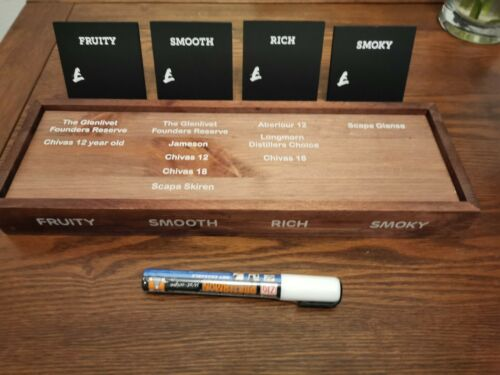 Wooden Whiskey Bottle Plinth With Bottle Clip on Badges and Chalk Board Pen New