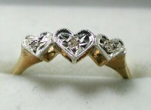 1970's Vintage Lovely Two Colour 9 Carat Gold And Diamond Thee Heart Shaped Ring