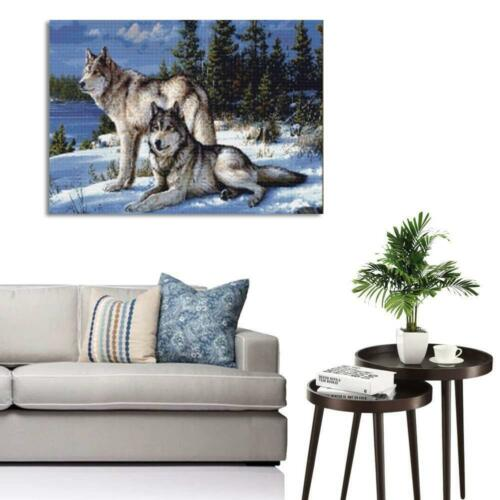 1PC 5D DIY Diamond Painting Full Drill Hand Embroidery Cross Stitch Wolf Picture