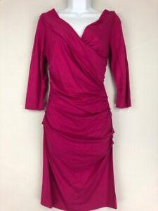 DVF-Diane-Von-Furstenberg-Womens-Bentley-Dress-Pink-Ruched-3-4-Sleeve-S-New