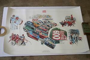 1990-FULL-COLOR-NASCAR-POSTER-COCA-COLA-CHARLOTTE-WORLD-600-22-X-28