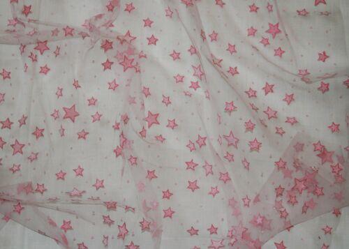 Tul € 12,50//m² 0,5 m oftálmicos terciopelo estrellas con borde coloreado 1,45m de ancho