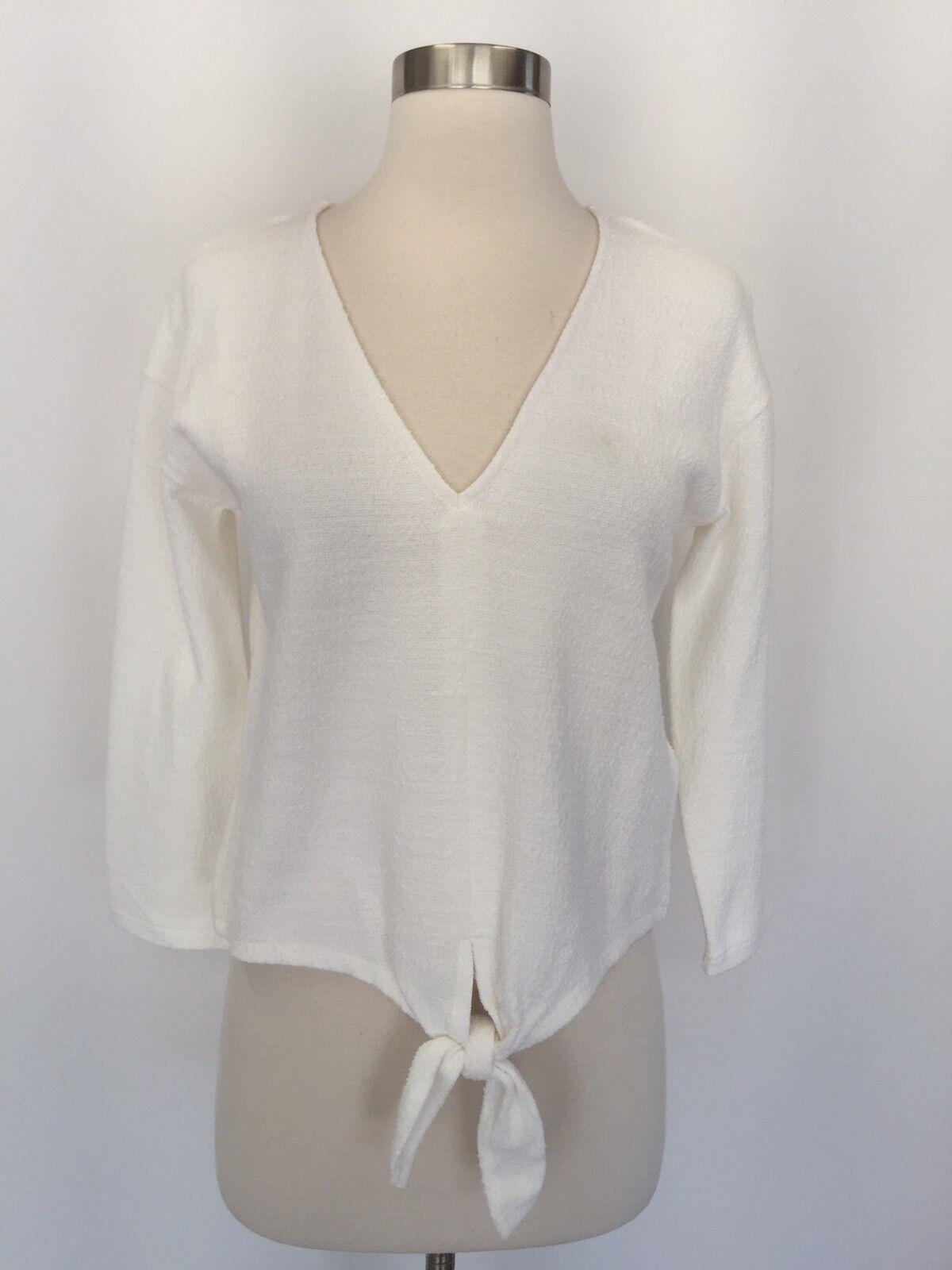 Madewell New Texturot Tie Ftont Top Shirt H7993 Größe XS Ivory