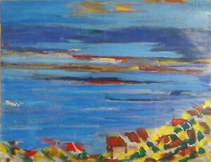 """André TELLIER  - """"""""  presqu'île de Gien """"  GOUACHE & ACRYLIQUE vers 1960/70"""