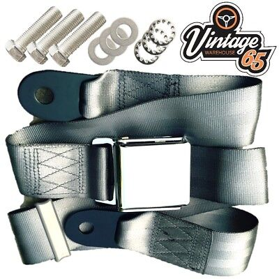 Classic Land Rover Chrome Buckle 3 Point Adjustable Static Seat Belt Kit Grey