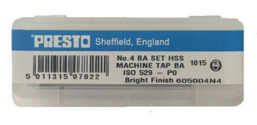 Presto UK 4BA Taps set of 3 HSS First Direct from Myford ltd Second /& Plug