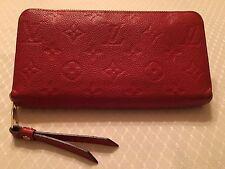Authentic Louis Vuitton Zippy Wallet Empreinte Red-Orange Orient