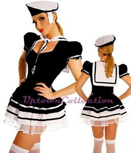 Sailor-Pin-Up-Girl-Ladies-Rockabilly-Black-White-Fancy-Dress-Halloween-Costume