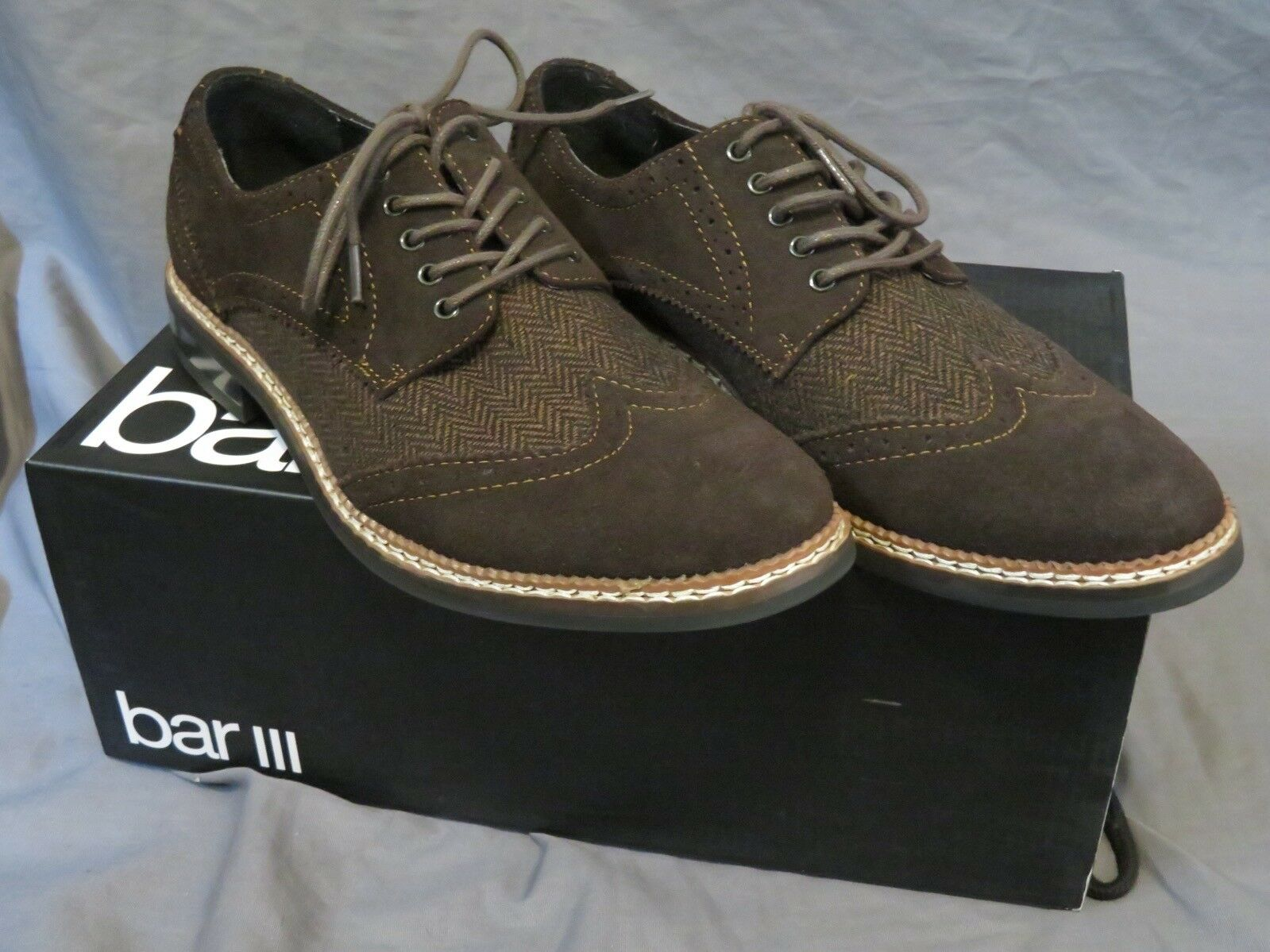 Men's Bar III Monte Brown Suede Leather Wing Tip Oxfords Size 7.5 WORN ONCE