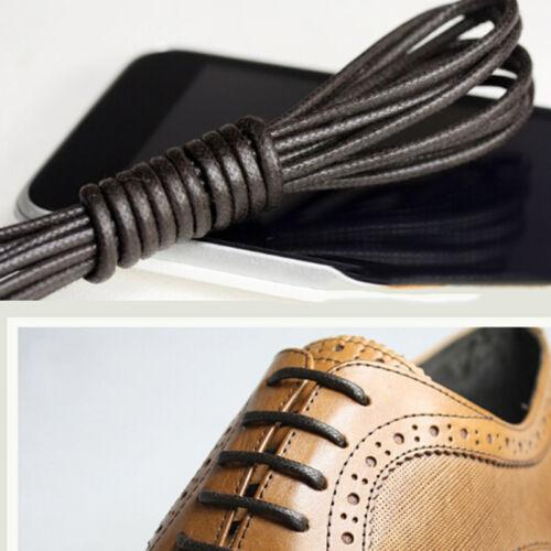 Round Waxed Shoelaces Oxford Dress Canvas Sneaker Shoe Laces Unisex Strings VXUS
