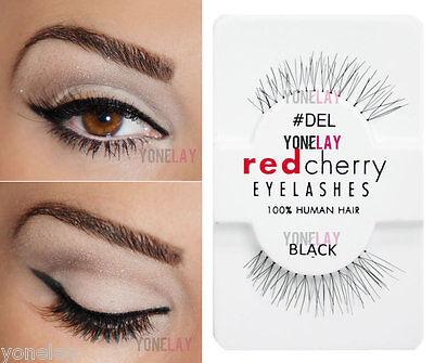 Lot 6 Pairs RED CHERRY #DEL False Eyelashes Human Hair Lash Fake Eye Lashes