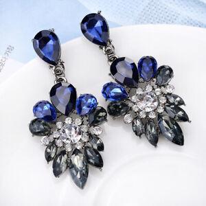 1-Paire-Fashion-Elegant-Crystal-Rhinestone-Ear-Stud-Dangle-Boucles-d-039-Oreilles-Pendantes-Nouveau