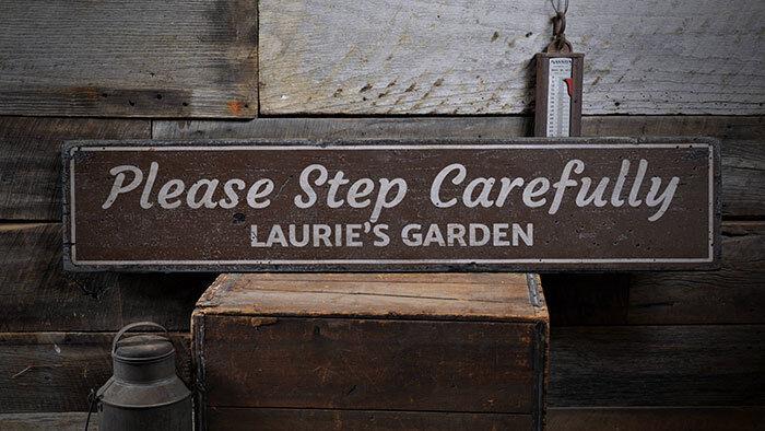 Step Carefully Sign, Garden Steps Sign -Distressed Wooden Sign ENS1001891