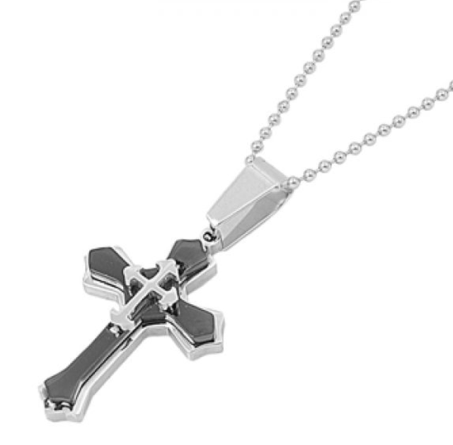Triple Stacked Black Stainless Steel Small Cross Necklace N111