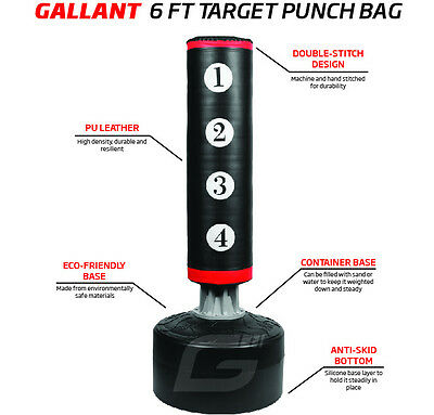 Gallant Free Standing Boxing Target Punch Bag Heavy Duty Kick Martial Arts 6ft