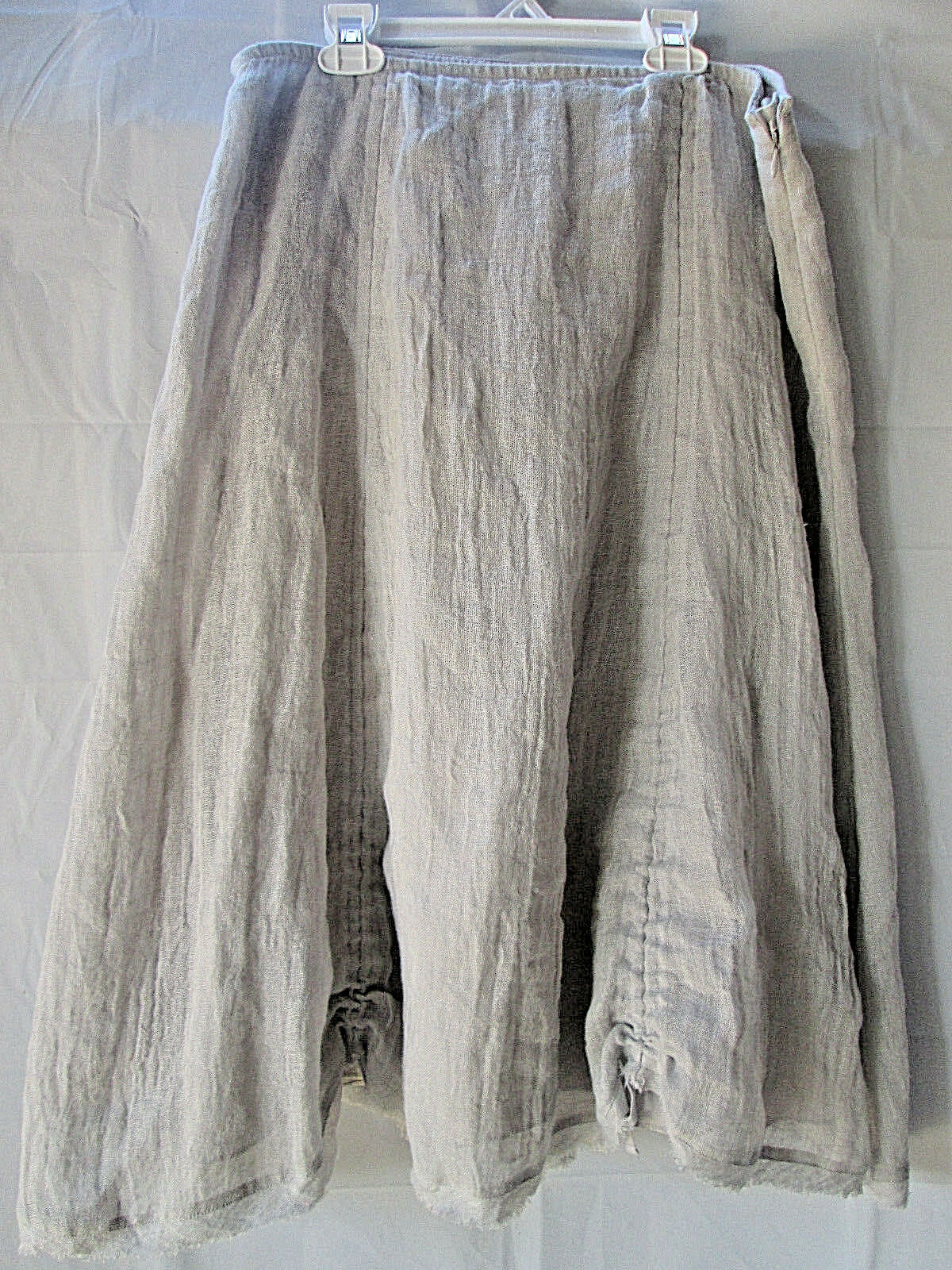 Eileen Fisher Skirt Small 100% Linen Gauze Lined Boho  Ruched Ties Peasant S