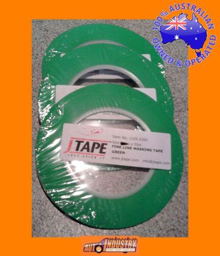3 ROLLS QUALITY GREEN PLASTIC FINELINE MASKING TAPE 3mm x 55mtr MASK FLAMES