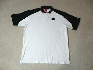 Reebok-Philadelphia-Flyers-Polo-Shirt-Adult-Extra-Large-White-Black-NHL-Hockey