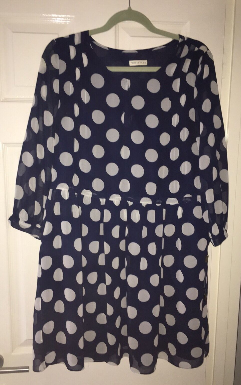 WHISTLES NAVY blueE WHITE POLKA DOT DRESS