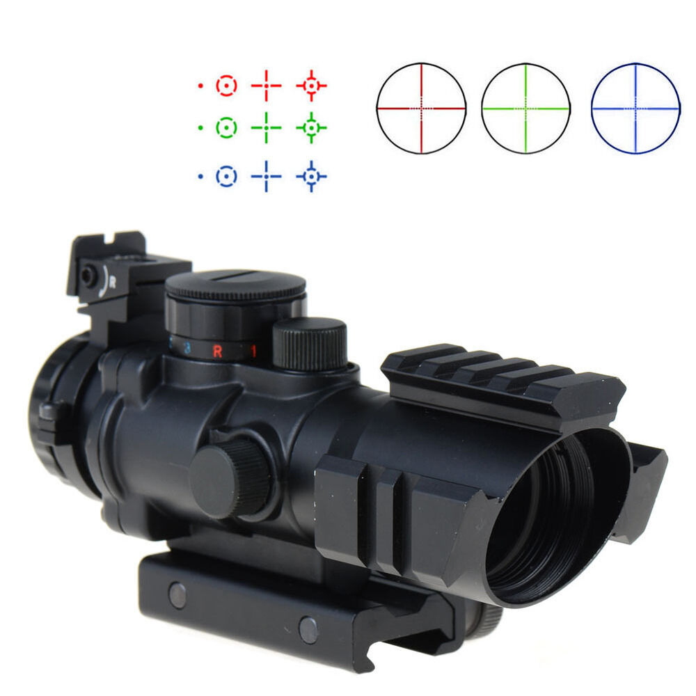 4X32 Prismatic Red Green bluee Rifle Scope w Picatinny Tri-illuminated Recticle