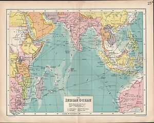 1903 map indian ocean british possessions steamer routes india image is loading 1903 map indian ocean british possessions steamer routes gumiabroncs Choice Image