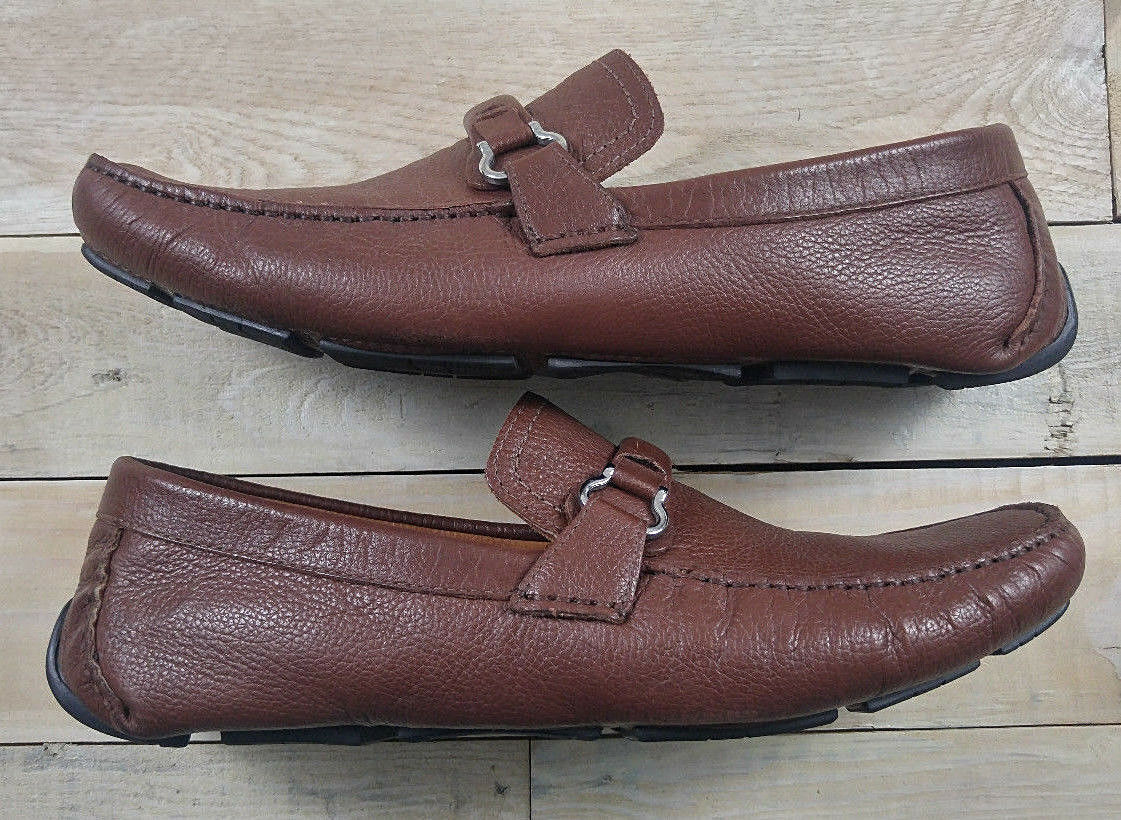 MIKE KONOS Driving Moccasin Slip On Brown Leather Loafers Size 11.5 M