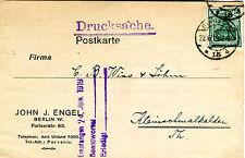 Karte Deutsches Reich 1919 John J. Engel Berlin W. Pariserstr. o Nr : 85 KA081