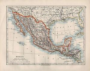 Honduras Mexico Map.1909 Victorian Map Mexico Central America Guatemala Honduras Ebay