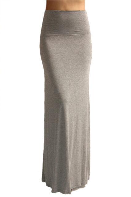 SOLID MAXI SKIRT Long Full Length High waist Fold over S M L XL CLEARANCE