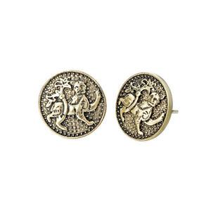 Slavic-Tiger-Lion-Earrings-Religious-Jewelry-Vintage-Antique-Ancient-Earring